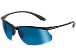 """Bolle Kicker Series, Product # 11071 (Shiny Black w/ Polarized Offshore Blue Oleo AR Lens) Product # 11582 (Shiny Black w/ Photo V3 Golf Oleo AF Lens) Product # 11435 (Shiny Black w/ Polarized TNS Oleo Lens) The Bolle Kicker are specially designed wrap-around lenses that protect your face from the elements, while polarized lenses keep your vision free from glare"